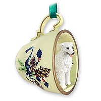 Kuvasz Tea Cup Green Holiday Ornament