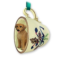 Rhodesian Ridgeback Tea Cup Green Holiday Ornament