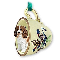Cavalier King Charles Spaniel Brown & White Tea Cup Green Holiday Ornament