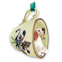English Setter Belton Orange Tea Cup Green Holiday Ornament