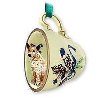 Australian Cattle Red Dog Tea Cup Green Holiday Ornament