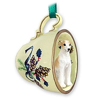 Whippet Tan & White Tea Cup Green Holiday Ornament