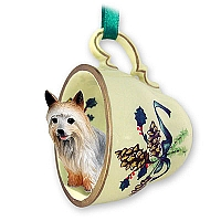 Silky Terrier Tea Cup Green Holiday Ornament