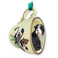 Bearded Collie Tea Cup Green Holiday Ornament