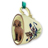 Vizsla Tea Cup Green Holiday Ornament