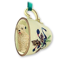 Soft Coated Wheaten Terrier Tea Cup Green Holiday Ornament