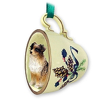 Australian Shepherd Brown Tea Cup Green Holiday Ornament