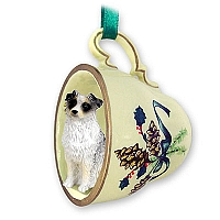 Australian Shepherd Blue Tea Cup Green Holiday Ornament