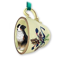 Australian Shepherd Tricolor Tea Cup Green Holiday Ornament