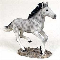 Dapple Gray Horse Running Figurine