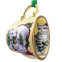 Silver Shorthaired Tabby Cat Tea Cup Snowman Holiday Ornament