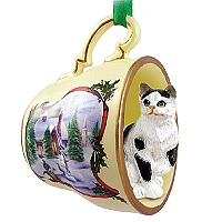 Black & White Shorthaired Tabby Cat Tea Cup Snowman Holiday Ornament