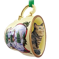 Brown Tabby Maine Coon Cat Tea Cup Snowman Holiday Ornament