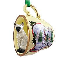 Siamese Tea Cup Snowman Holiday Ornament