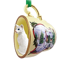 White Oriental Shorthaired Tea Cup Snowman Holiday Ornament