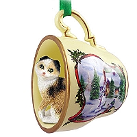 Tortoise & White Scottish Fold Tea Cup Snowman Holiday Ornament