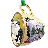 Black & White Manx Tea Cup Snowman Holiday Ornament