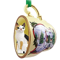 Tortoise & White Japanese Bobtail Tea Cup Snowman Holiday Ornament