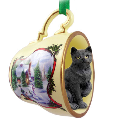 black shorthaired tabby cat tea cup snowman holiday ornament - Black Cat Christmas Ornament