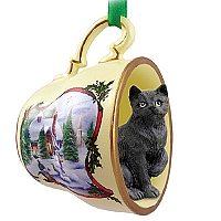 Black Shorthaired Tabby Cat Tea Cup Snowman Holiday Ornament