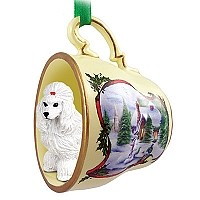 Poodle White Tea Cup Snowman Holiday Ornament
