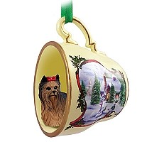 Yorkshire Terrier Tea Cup Snowman Holiday Ornament