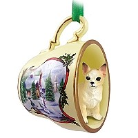 Chihuahua Tan & White Tea Cup Snowman Holiday Ornament