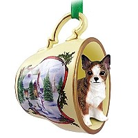Chihuahua Brindle & White Tea Cup Snowman Holiday Ornament