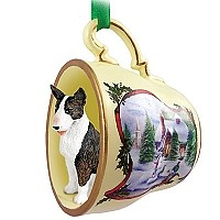 Bull Terrier Brindle Tea Cup Snowman Holiday Ornament