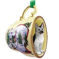 German Shepherd Black & Silver Tea Cup Snowman Holiday Ornament