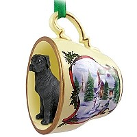 Great Dane Black w/Uncropped Ears Tea Cup Snowman Holiday Ornament