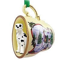 Great Dane Harlequin w/Uncropped Ears Tea Cup Snowman Holiday Ornament