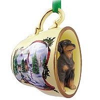 Doberman Pinscher Red w/Uncropped Ears Tea Cup Snowman Holiday Ornament