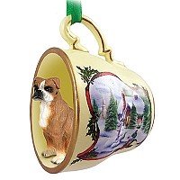Boxer w/Uncropped Ears Tea Cup Snowman Holiday Ornament