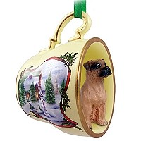Boxer Tawny w/Uncropped Ears Tea Cup Snowman Holiday Ornament