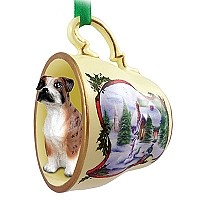 Boxer Brindle w/Uncropped Ears Tea Cup Snowman Holiday Ornament