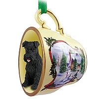 Schnauzer Black w/Uncropped Ears Tea Cup Snowman Holiday Ornament