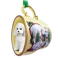 Poodle White w/Sport Cut Tea Cup Snowman Holiday Ornament