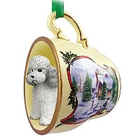 Poodle Gray w/Sport Cut Tea Cup Snowman Holiday Ornament