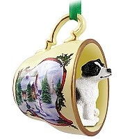Jack Russell Terrier Black & White w/Smooth Coat Tea Cup Snowman Holiday Ornament