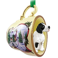 Pointer Black & White Tea Cup Snowman Holiday Ornament