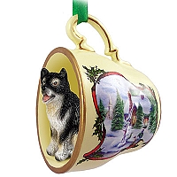 Alaskan Malamute Tea Cup Snowman Holiday Ornament