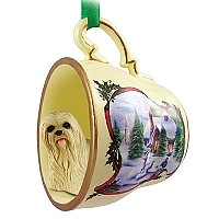 Lhasa Apso Blonde Tea Cup Snowman Holiday Ornament