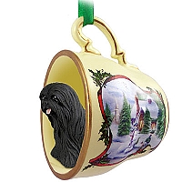 Lhasa Apso Black Tea Cup Snowman Holiday Ornament
