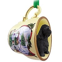 Cocker Spaniel English Black Tea Cup Snowman Holiday Ornament
