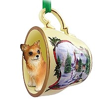 Chihuahua Longhaired Tea Cup Snowman Holiday Ornament