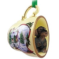 Wire Haired Dachshund Red Tea Cup Snowman Holiday Ornament