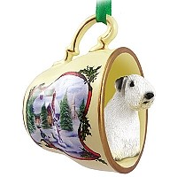 Sealyham Terrier Tea Cup Snowman Holiday Ornament