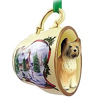 Briard Tea Cup Snowman Holiday Ornament