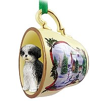 Shih Tzu Black & White w/Sport Cut Tea Cup Snowman Holiday Ornament